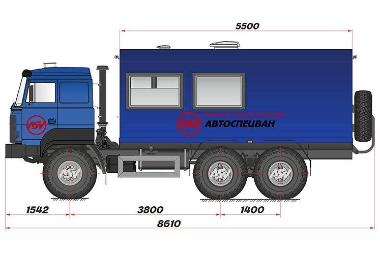 Фото: Вахтовый автобус с грузовым отсеком Урал 4320, 9 мест