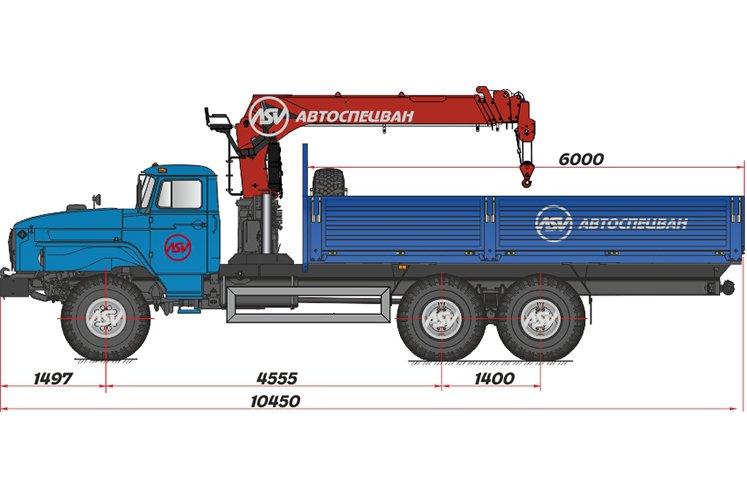 Фото: Бортовой автомобиль Урал 4320 (капотный) с КМУ IT-150 (тросовый)