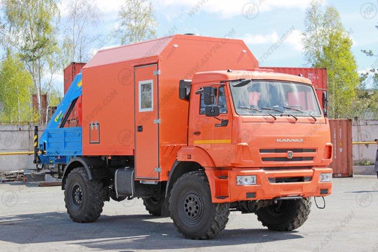Фото: Агрегат наземного ремонта водоводов Камаз 43502 с КМУ ИМ-20