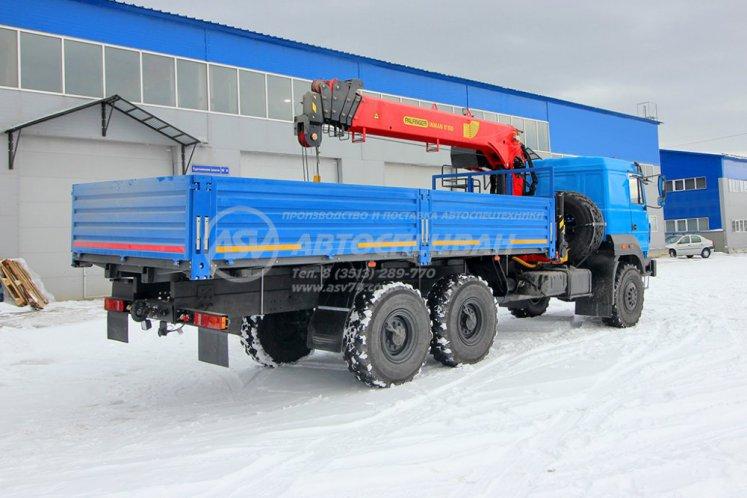 Фото: Бортовой автомобиль Урал 4320-4972-80М (бескапотный) с КМУ IT-150 (тросовый)
