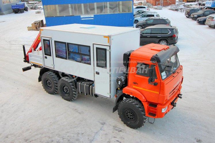Фото: Вахтовый автобус с бортовой платформой и КМУ Palfinger 8500 КАМАЗ 43118-3027-50, 16 мест
