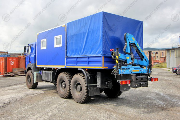 Фото: Транспортно-бытовой автомобиль МАЗ 6317F9-568-031 с КМУ ИМ-25