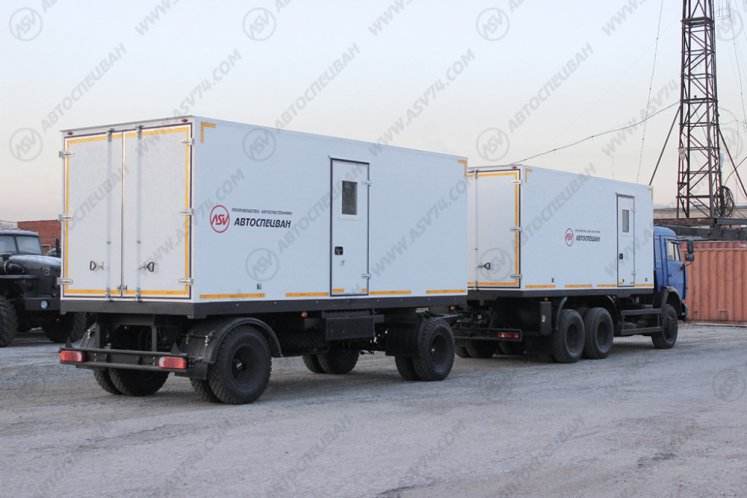 Фото: Передвижной учебный центр на шасси Камаз 65115 Нефаз 8332 с вагон-домом