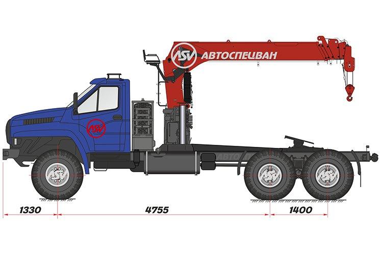 Фото:  Седельный тягач Урал 4320 NEXT с КМУ IT-180 (тросовый)