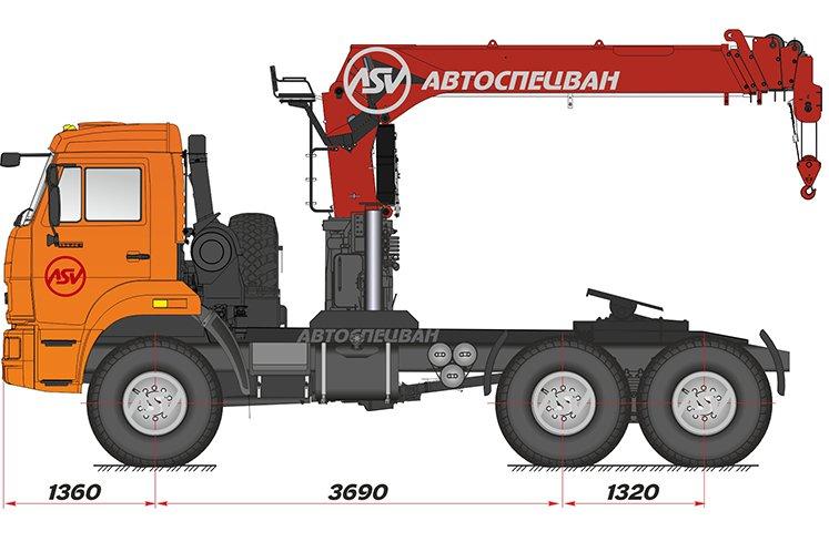 Фото: Седельный тягач КАМАЗ 43118-46 (53504-46) с КМУ IT-150