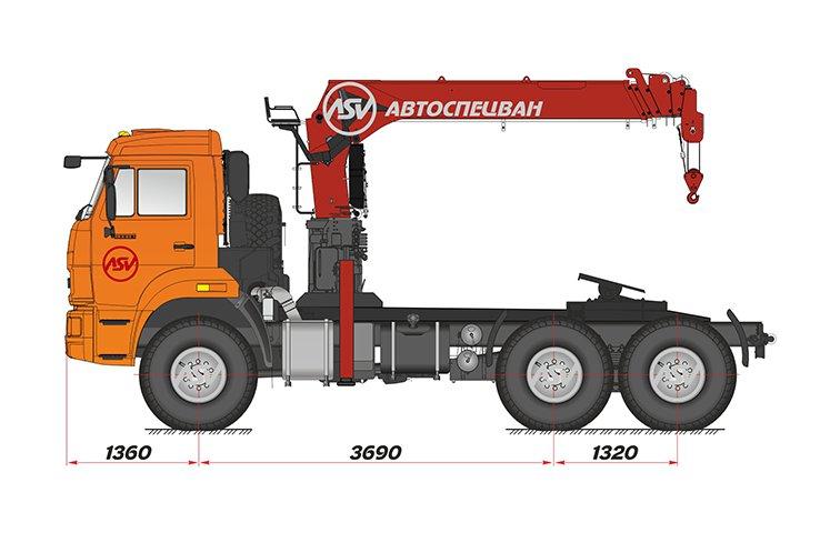Фото: Седельный тягач КАМАЗ 43118-50 с КМУ Kanglim 2056 (тросовый)