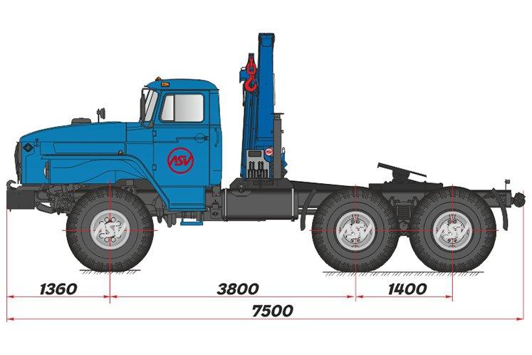 Фото: Седельный тягач Урал 44202-60М с КМУ ИМ-150