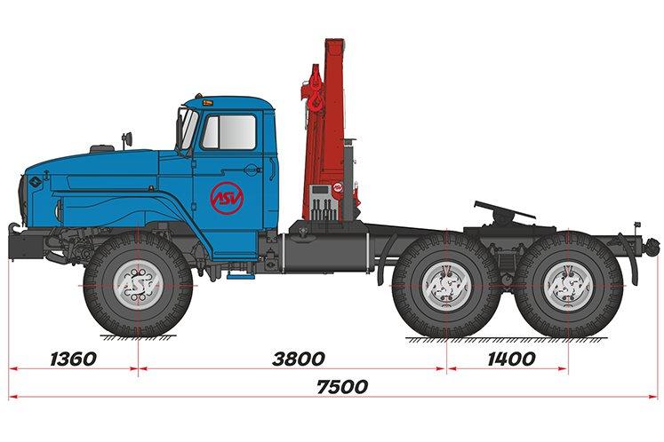 Фото: Седельный тягач Урал 44202-60М с КМУ Palfinger 15500