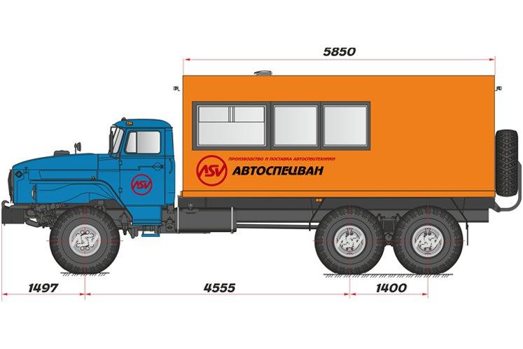 Фото: Вахтовый автобус с грузовым отсеком Урал 4320-1912-60М, 12 мест