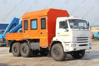 Фото: 8 мест, КамАЗ 43118-3027-46, Автобус вахтовый с бортовой платформой и КМУ