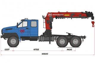 Фото: Седельный тягач Урал 4320 NEXT (сдвоенная кабина) с КМУ ИТ-200